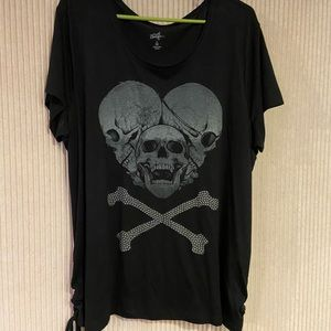 3 skull studded shirt with tie up sides